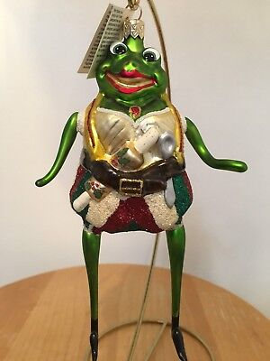 "Slavic Treasures ""FLAMBE FROGGY"" Frog Glass Ornament New MIB 00-404-A-FB"