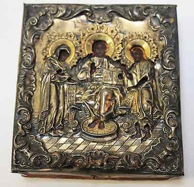 Antique Russian Icon Oil Painting under Sterling Silver Jesus and 2 Saints