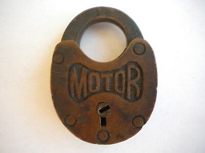 Vintage Antique Brass Motor Padlock Yale No Key