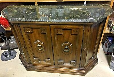 Vintage Console Credenza Server TV stand with Green Marble Top and Hinged doors