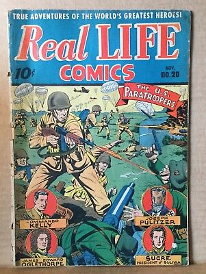 Vintage Comic Book Real Life Comics. Paratroopers. 1944