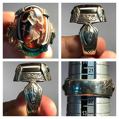 Medieval Agate Old Intaglio Stone Silver Ring