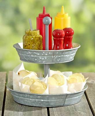 The Lakeside Collection 2-Tier Galvanized Metal Serving Tray