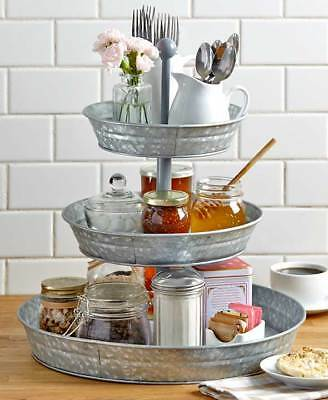 The Lakeside Collection 3-Tier Galvanized Metal Serving Tray