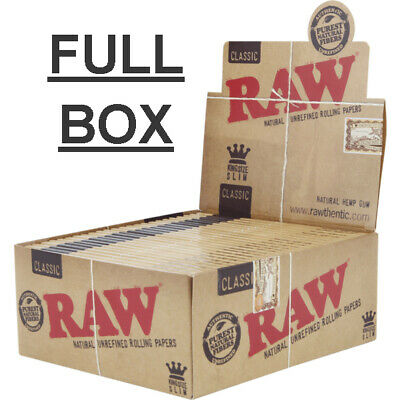 1x Box Raw Classic Connoiseur King Size Unrefined Rolling Papers +Tips