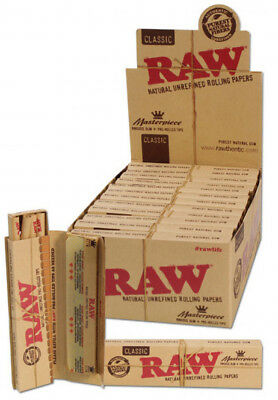 1x BOX RAW MASTERPIECE CLASSIC ROLLING PAPERS KING SIZE SLIM + PRE ROLLED TIPS