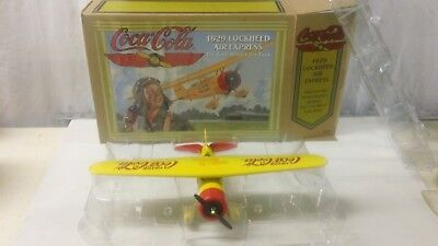 Coca Cola 1929 Lockheed Air Express Die Cast Metal Coin Bank Yellow NR1661 Soda