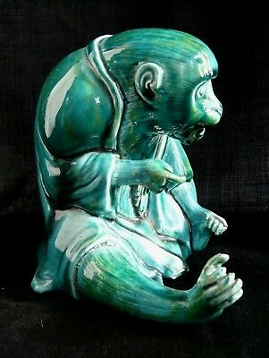 Antique Japanese ceramic seated monkey in scholar's robes, turquoise glaze- Fine