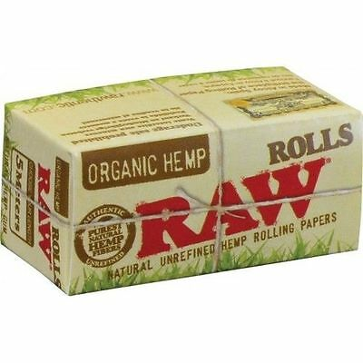5 BOXES RAW ORGANIC ROLLS Natural Hemp Cigarette rolling paper 5 m each