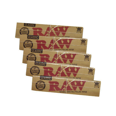 10x RAW CLASSIC ROLLING PAPERS KING SIZE SLIM NATURAL UNREFINED