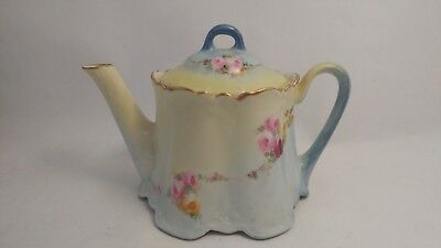 Zeh Scherzer & Co ZS & CO Bavaria Hand Painted Red & Pink Roses Teapot With Lid