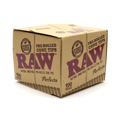 RAW  Perfecto Pre-Rolled Unrefined Cone Filter Tips (100 Pcs)