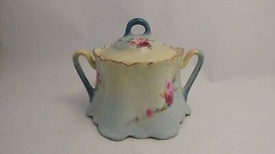 Zeh Scherzer & Co ZS & CO Bavaria Hand Painted Red & Pink Roses Sugar Bowl & Lid