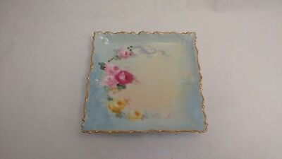 "Zeh Scherzer & Co / Limoges ? Hand Painted Roses on 5 1/8"" Square Tray / Dish"