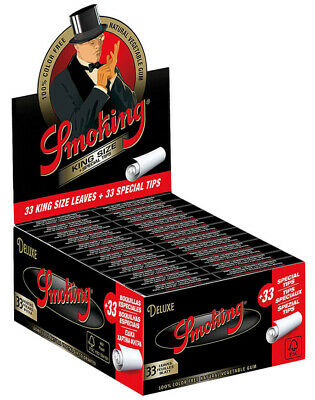 1x Box Smoking Deluxe Rolling Papers King Size + Tips Full Box of 24 Booklets