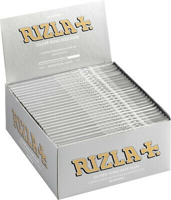 1x BOX RIZLA SILVER KING SIZE SLIM  CIGARETTE ROLLING PAPERS