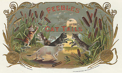 """ CAT TAILS""  Antique Cigar Label T Shirt Playful Cats SMALL-XXXLARGE (F)"