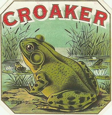 CROAKER FROG Antique Cigar Box Label T SHIRT SMALL-XXXLARGE (F)