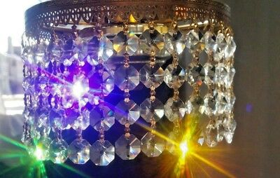 VINTAGE CHANDELIER Crystals Octagon Prisms Strings Bowtie - Old chandelier crystals