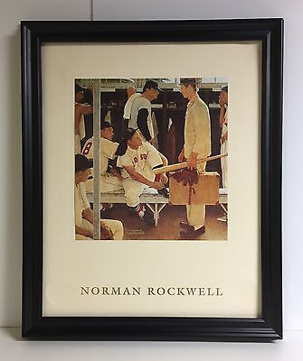"""Norman Rockwell Print """"the Rookie"""" Red Sox Locker Room In 16"""" X 20"""" Frame"""