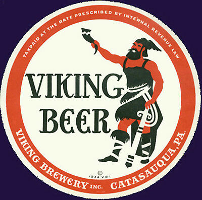 Viking Brewing Beer Label T Shirt Catasauque Pa Small Thru Xxxlarge