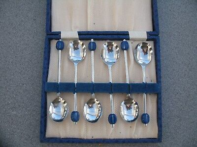 6 Vintage Chrome Plated Coffee Bean Spoons In Case