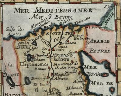 Africa Egypt decorative 1719 old Mallet miniature map hand color