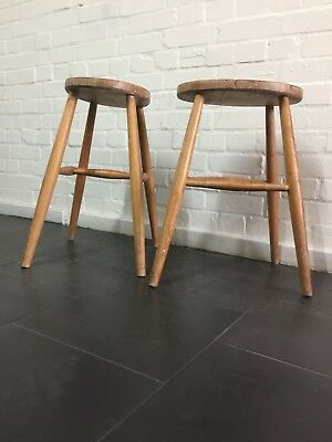 Pair Of Vintage Ercol Children's Low Stools