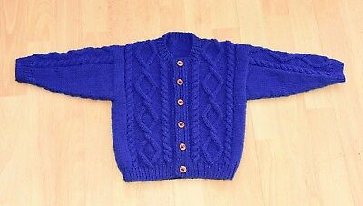 toddlers hand knitted aran style cardigan age 1 to 2 years in royal blue