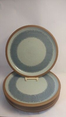 "Set of SIX Midwinter Denim - Blue & Brown 10 5/8"" Dinner Plates - EXC Condition"