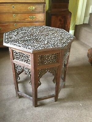 Antique Carved Anglo Indian / Burmese Octagonal Table