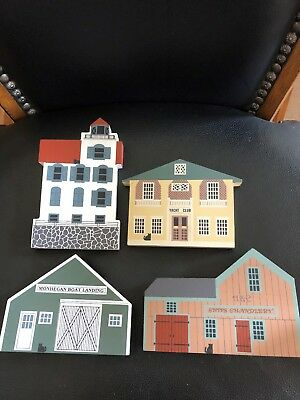 The Cats Meow 1987 Nautical Series Lot of 4 wooden collectables