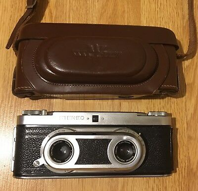 Wirgin 3D Stereo Camera With Leather Case.