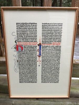 Facsimile Leaf from the Gutenberg Bible, Gospel of John, Framed, Mainz Germany