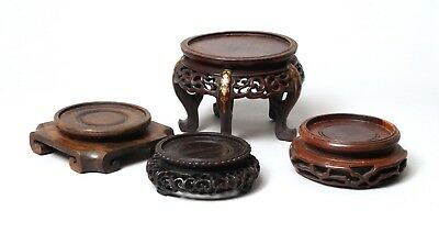 Four Good Antique Chinese Carved Hardwood Vase Stands