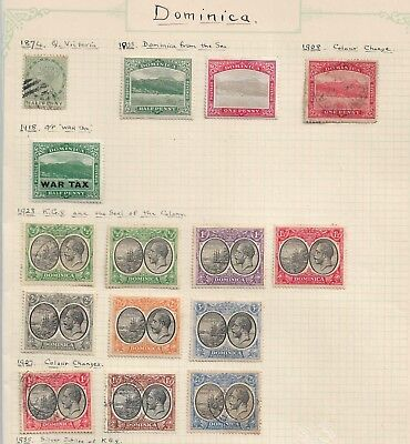 Dominica old album page Mint Hinged & Used as per scan