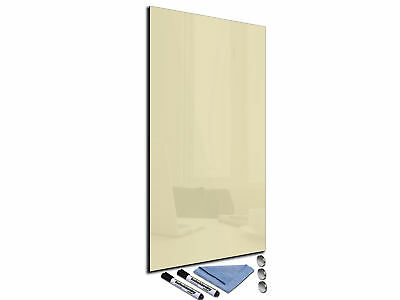 Glass Memo Board Magnetic Heat Resistant Toughened Glass 30x100cm Gray