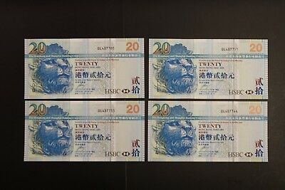 Hong Kong 2009 $20 HSBC note ch-UNC nice prefix and numbers  x 4 notes (v068)