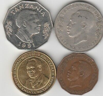 4 different world coins from TANZANIA