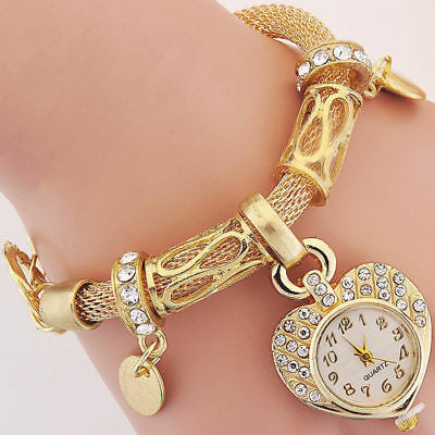 New Fashion Bracelet Wrist Watch for woman silver gold bangle band crystal lady