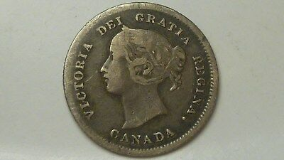 1872-H Canadian 5 cents Sterling Silver VG.Fine