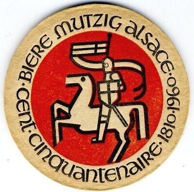 1 TB Sous Bock coaster bierdeckel de 1960 MUTZIG Alsace 1810-1960 4mm  collector
