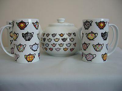 Paul Cardew Fun Teapot With 4 Matching Mugs