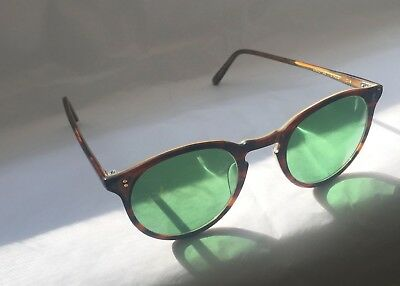 Rare Vintage Oliver Peoples O'Malley 008 Tortoise Cream Green Sunglasses size 45