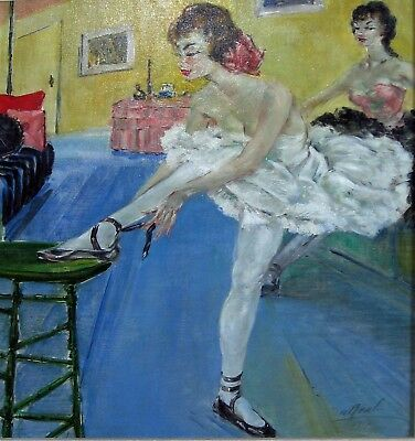 """French Ballerinas Dressing Room Org Oil by """"A.BEAL"""" circa 1940"""