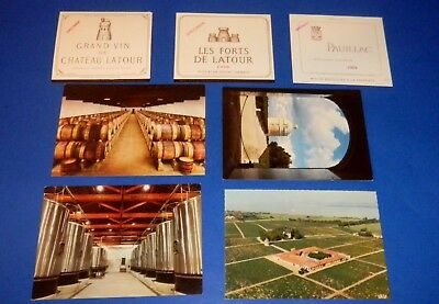 Lot Chateau Latour Postcards & Grand Vin, Les Forts & Pauillac Specimen Labels