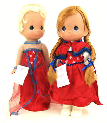 "Disney Parks Precious Moments ELSA & ANNA FROZEN 12"" Dolls Freedom 4th July"