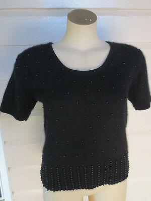 Vintage Howard Showers black beaded lambswool/ángora knit size 10-12 (US 6-8)