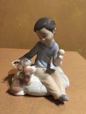 "Lladro ""Growing up Together"" Boy with Puppet and Puppies # 6983 Mint! NR"