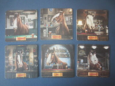 """set of 6 different CARLTON DRAUGHT  """" Clydesdales Horses """"  BEER  COASTERS"""